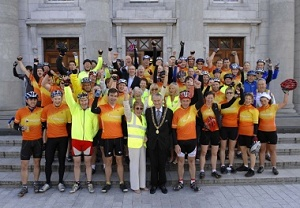 """Seán Kelly and Cork's Lord Mayor with 56 """"leisure"""" cyclists and CFAI collectors at the Tour start"""